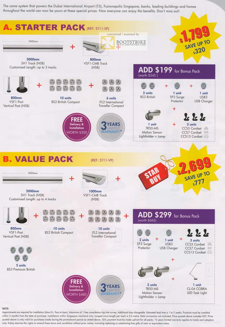 SITEX 2011 price list image brochure of Eubiq Starter Pack, Value Pack, SH1 Track