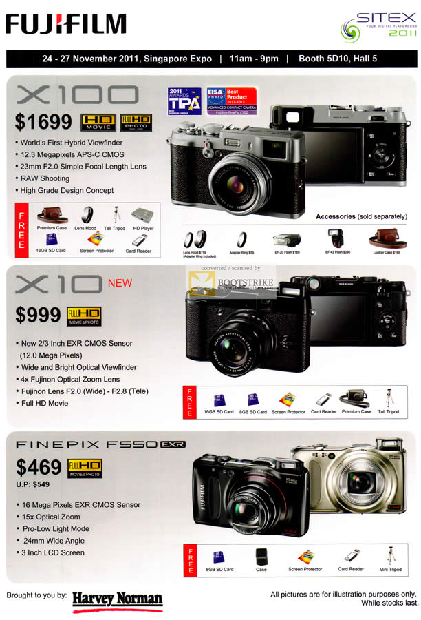 SITEX 2011 price list image brochure of Fujifilm Digital Cameras X100, X10, Finepix F550 EXR