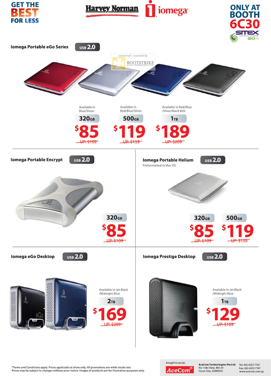 SITEX 2011 price list image brochure of Harvey Norman Iomega External Storage Portable EGo, Encrypt, Helium, EGo Desktop, Prestige Desktop