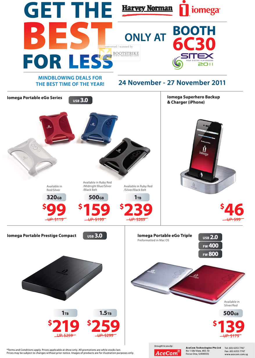 SITEX 2011 price list image brochure of Harvey Norman Iomega External Storage Portable EGo, Superhero Backup Charger IPhone, Prestige Compact, EGo Triple, FW400 FW800