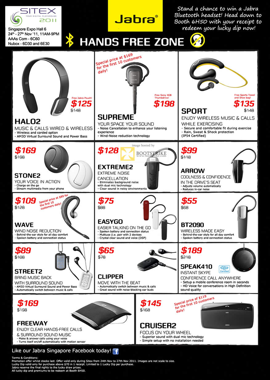 SITEX 2011 price list image brochure of Jabra Handsfree Bluetooth Headset, Halo2, Supreme, Sport, Extreme2, Arrow, Stone2, Wave, Easygo, BT2090, Street2, Clipper, Speak410, Freeway, Cruiser2