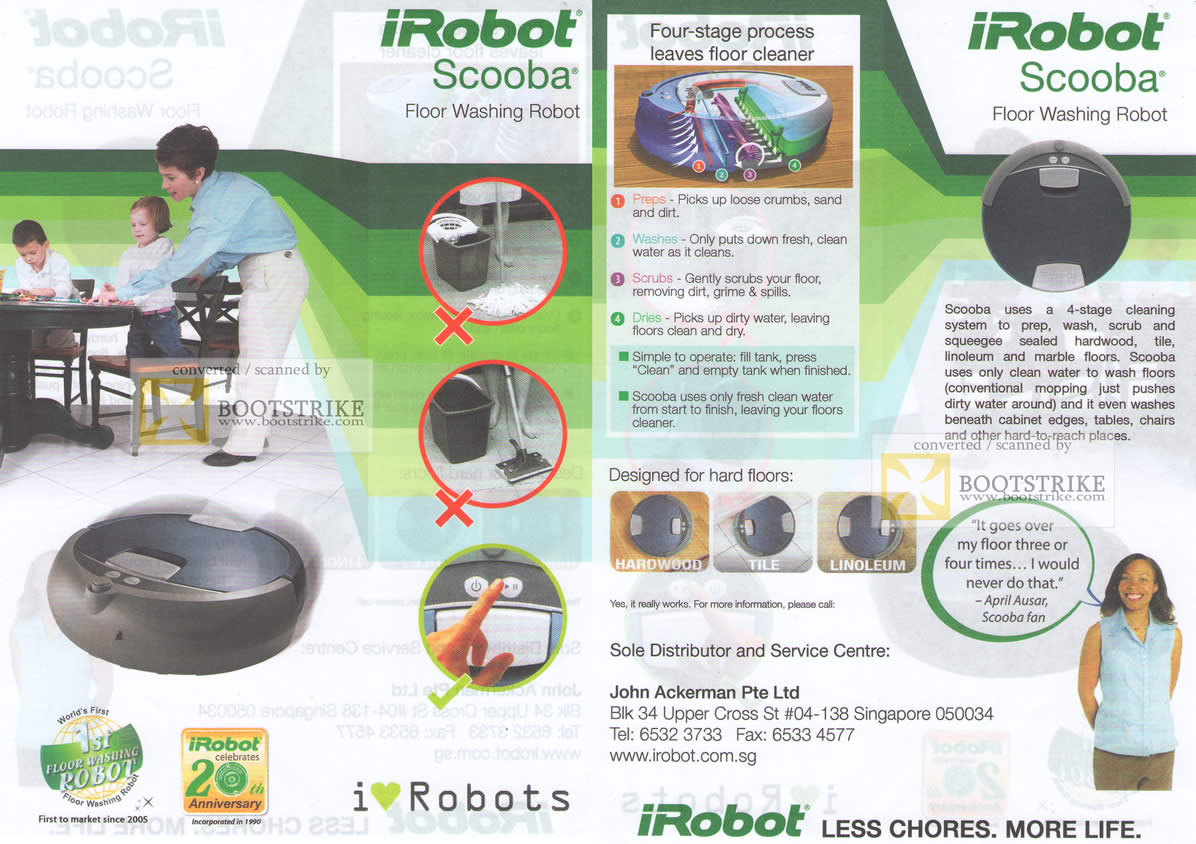 SITEX 2011 price list image brochure of John Ackerman IRobot Scooba Floor Washing Robot