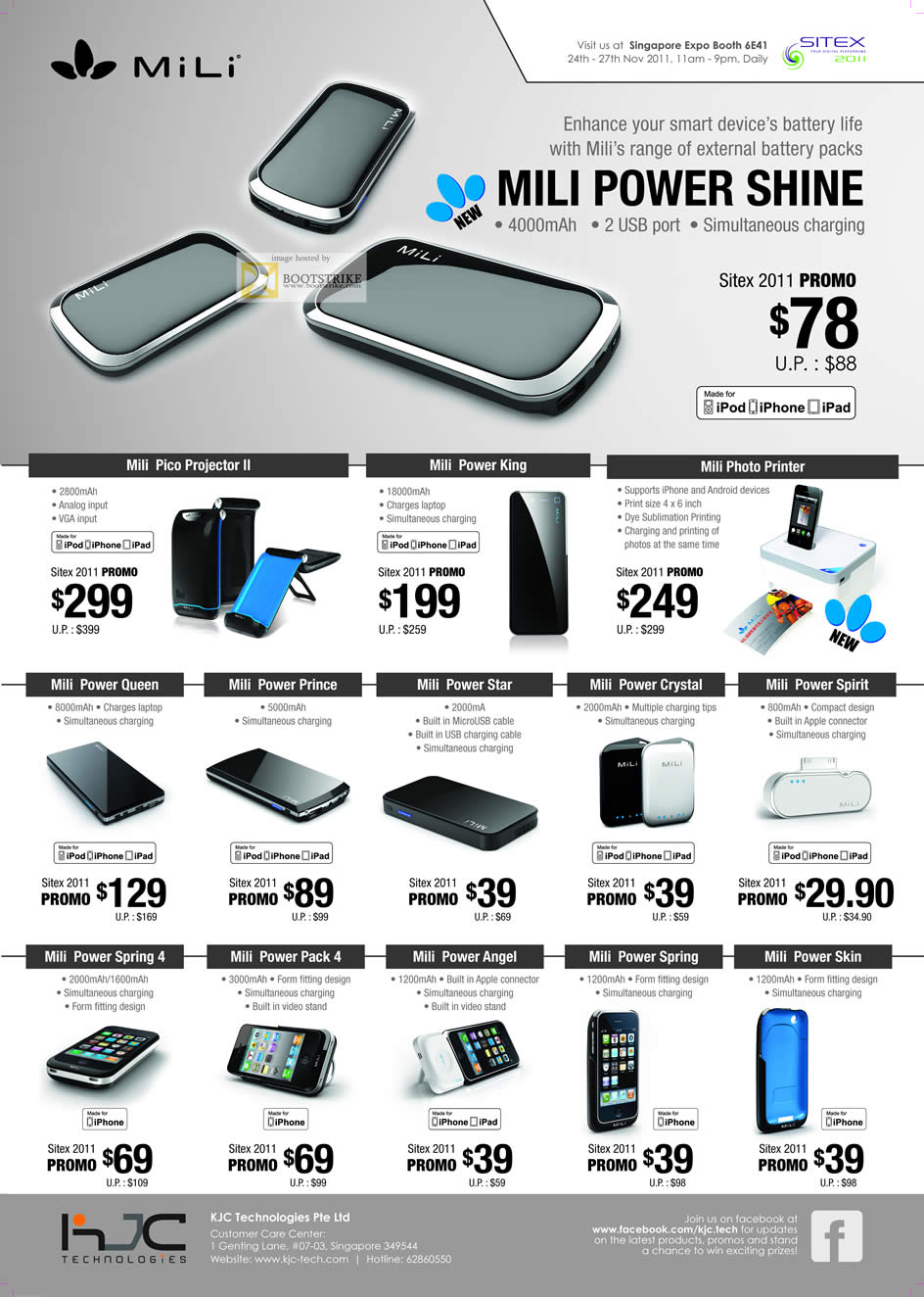SITEX 2011 price list image brochure of KJC MiLi Power Shine Portable Charger, Pico Projector II, King, Photo Printer, Power Queen, Prince, Star, Crystal, Spirit, Spring 4, Pack 4, Angel, Spring, Skin, IPhone