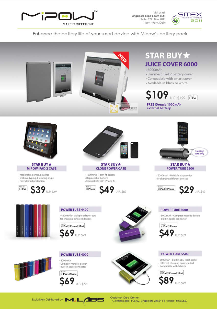 SITEX 2011 price list image brochure of KJC Mipow Battery Pack Juice Cover 6000 IPad 2, Case, Power Tube 2200, 4400, 3000, 4000, 5500