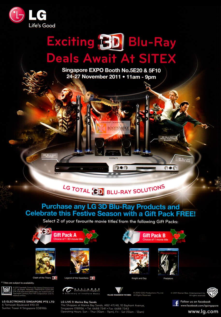 SITEX 2011 price list image brochure of LG 3D Blu-ray Gift Packs