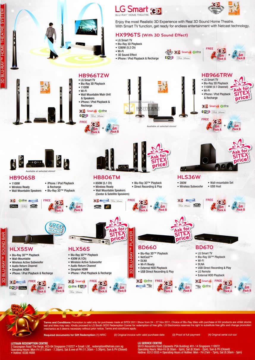 SITEX 2011 price list image brochure of LG Blu-Ray Home Theatre, Sound Bar, 3D Blu-Ray Player