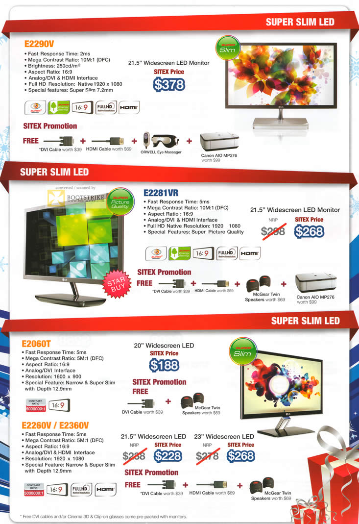 SITEX 2011 price list image brochure of LG Monitors LED E2290V, E2281VR, E2060T, E2260V, E2360V