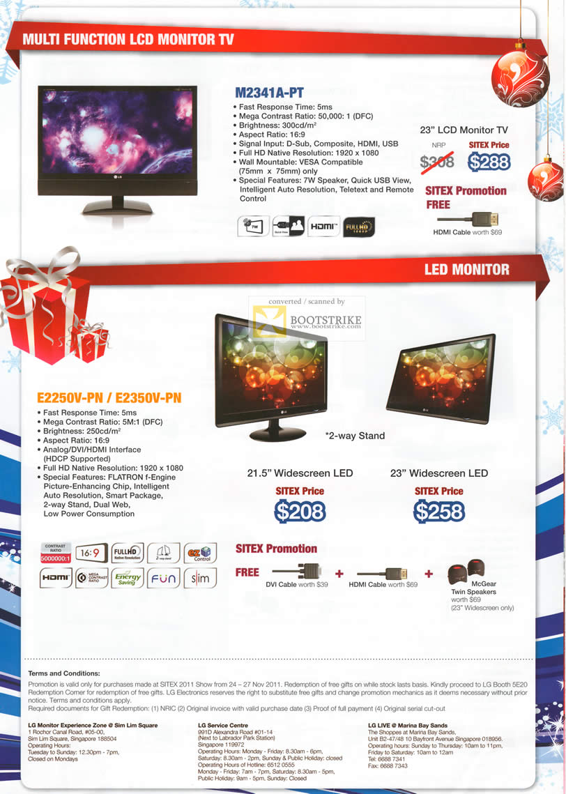 SITEX 2011 price list image brochure of LG Monitors M2341A-PT LCD Monitor TV, LED E2250V-PN, E2350V-PN
