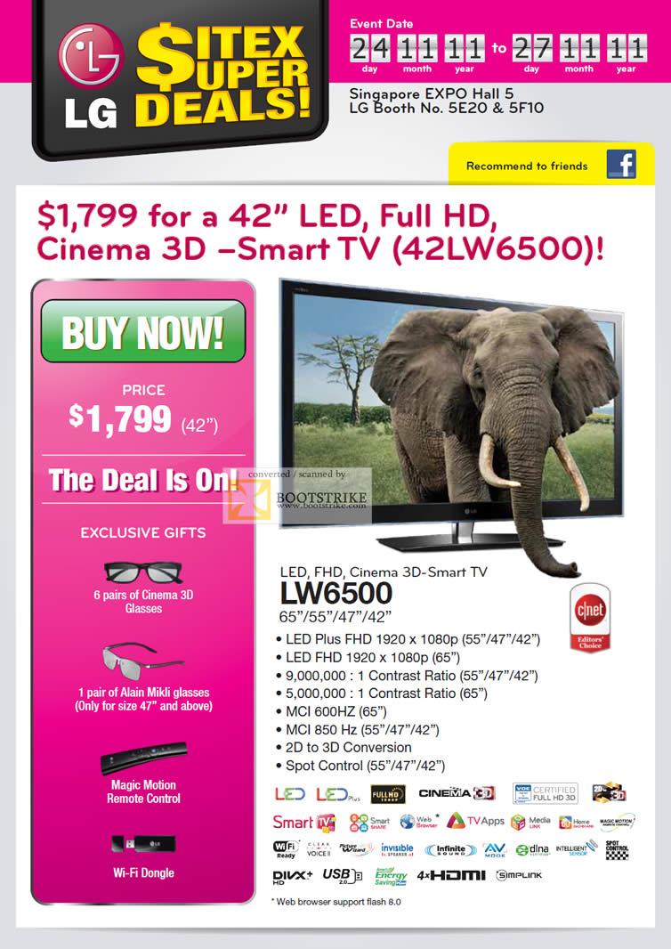 SITEX 2011 price list image brochure of LG TV LED 42LW6500