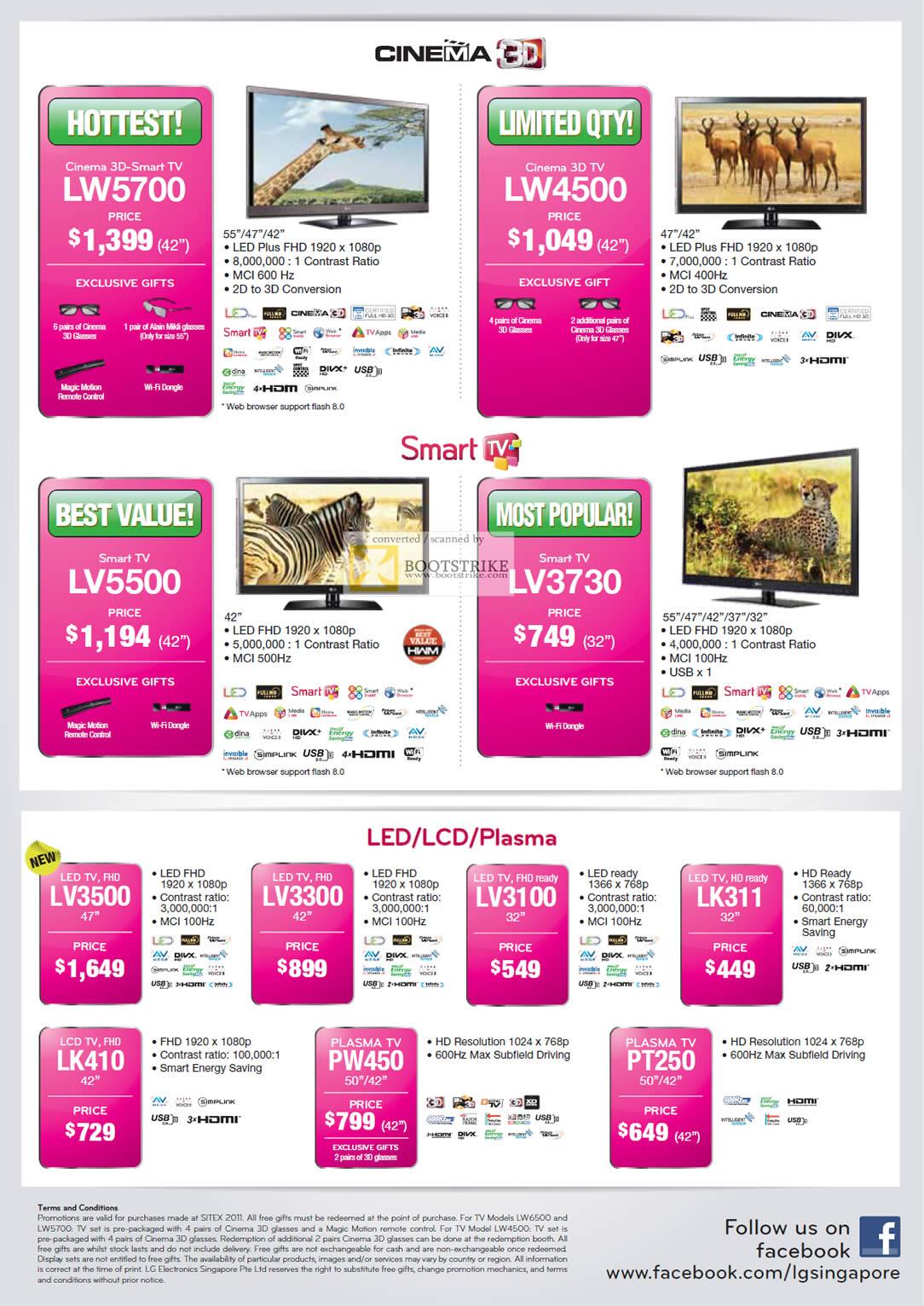 SITEX 2011 price list image brochure of LG TV LW5700, LW4500, LV5500, LV3730, LED LCD Plasma LV3500, LK410, LV3300, PW450, LV3100, LK311, PT250
