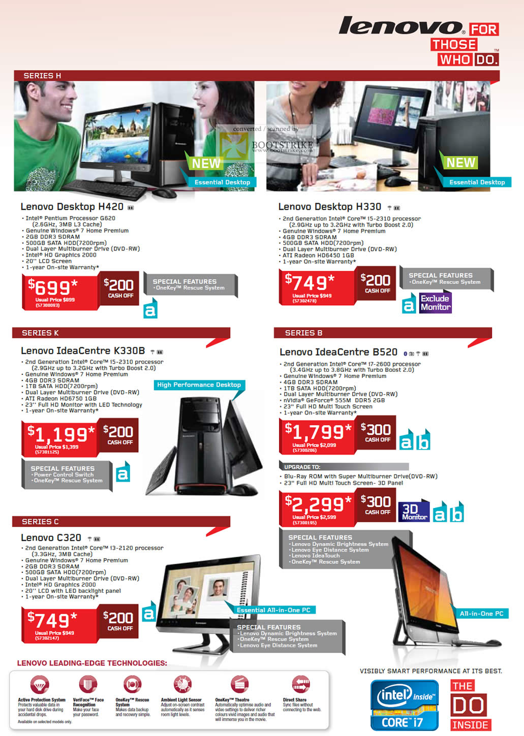 SITEX 2011 price list image brochure of Lenovo Desktop PC H420, H330, IdeaCentre K330B, B520, C320