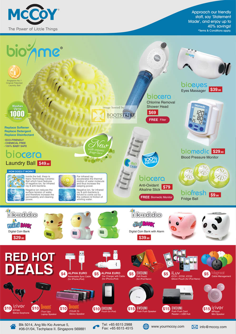 SITEX 2011 price list image brochure of Mccoy Biounme Laundry Ball, Biocera, Bioeyes, Biomedic, Biofresh, Ikiddo Mini Bank Digital Coin Bank, DigiBank Alarm, IRiver Earphone, Divoom ITour Speaker, Evouni, ILuv, Magneat
