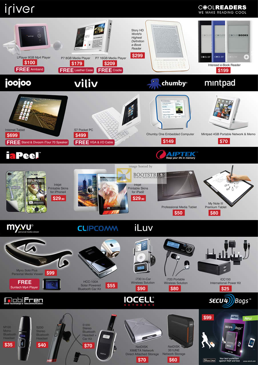 SITEX 2011 price list image brochure of Mccoy IRiver LPlayer MP4 Player, P7 Media Player, Story HD, Joojoo Internet Tablet, Viliv S7 Pocket PC, Chumby One, Mintpad, IaPeel Skin, Aiptek My Note III Tablet