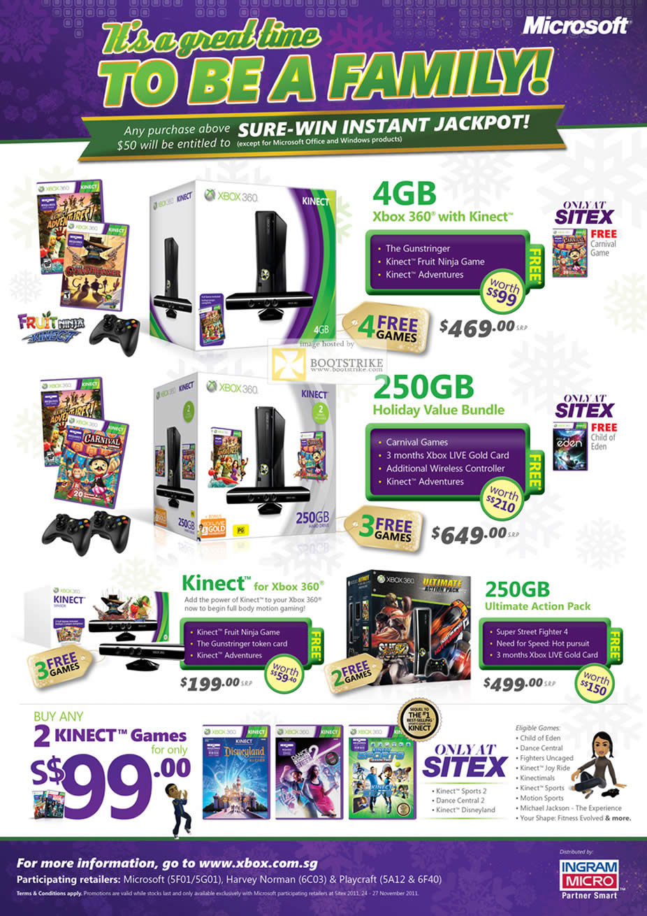 SITEX 2011 price list image brochure of Microsoft Xbox 360 With Kinect, Holiday Value Bundle 250GB, Ultimate Action Pack, Games