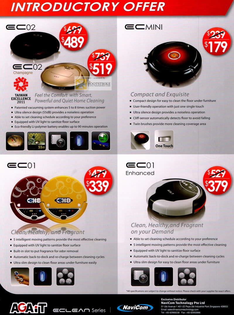 SITEX 2011 price list image brochure of Navicom Agait Eclean Vacuum Cleaners EC02, EC Mini, EC01, EC01 Enhanced