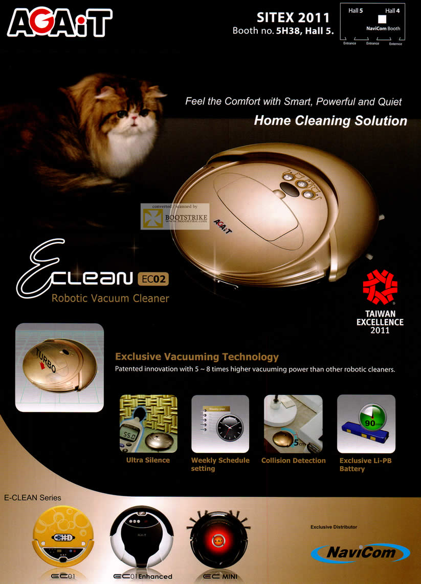 SITEX 2011 price list image brochure of Navicom Agait Eclean Vacuum Cleaners Features