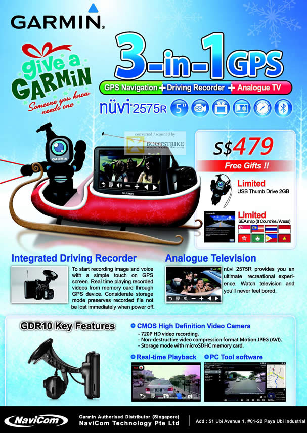 SITEX 2011 price list image brochure of Navicom Garmin GPS Nuvi 2575R 3-in-1 GPS, Driving Video Recorder, TV, GDR10