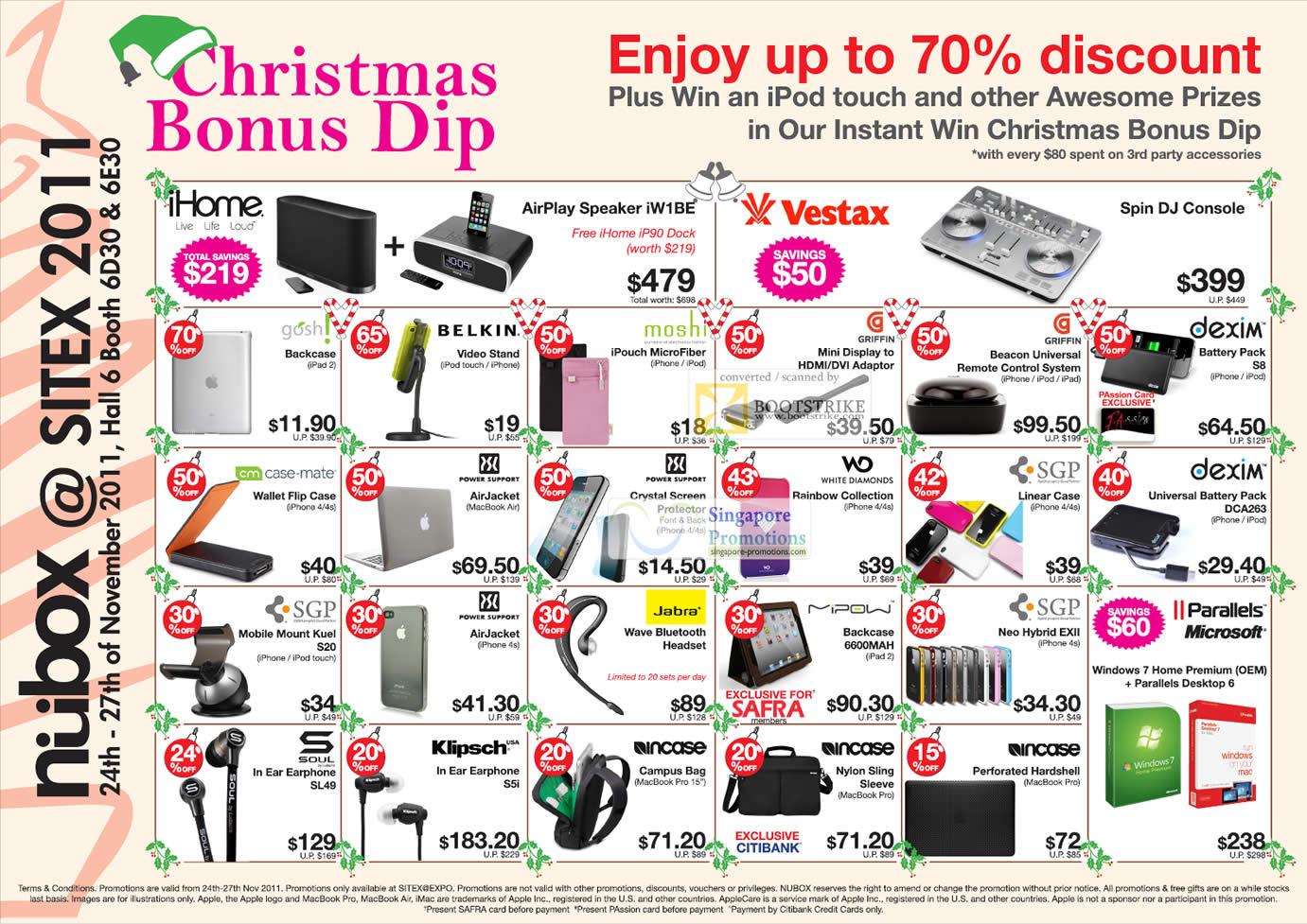 SITEX 2011 price list image brochure of Newstead Nubox Accessories Vestax DJ Console, IHome AirPlay Speaker IW1Be, Griffin, Beacon, Dexim Battery Pack, Soul, Klipsch, Jabra, Parallels, Mipow, SGP