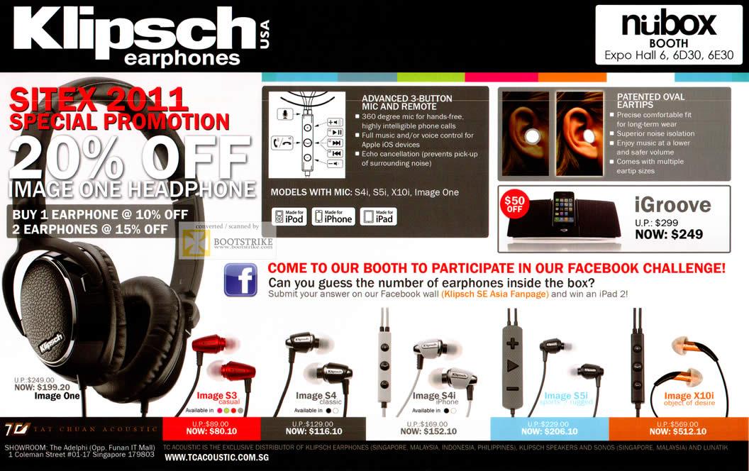 SITEX 2011 price list image brochure of Newstead Nubox Klipsch Headphones Image S3, S4, S4i, S5i, X10i, IGroove