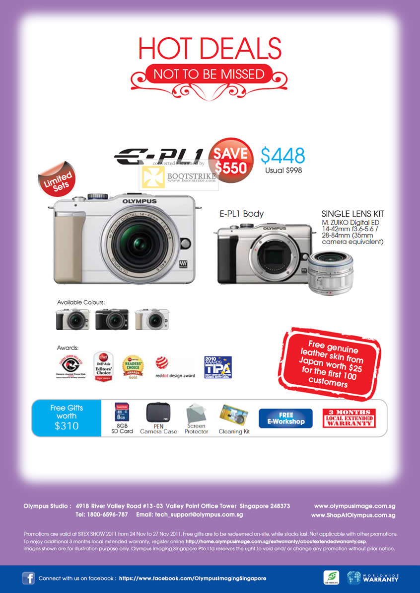 SITEX 2011 price list image brochure of Olympus Digital Cameras E-PL1, Single Lens Kit, Body