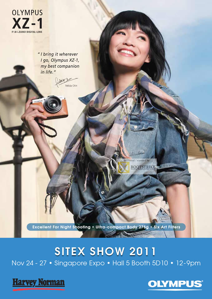 SITEX 2011 price list image brochure of Olympus Digital Cameras Harvey Norman XZ-1 Felicia Chin