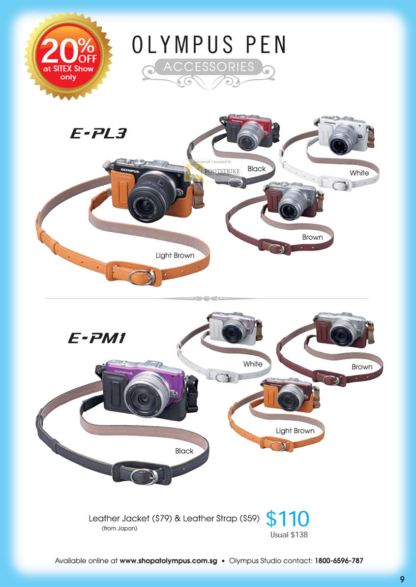 SITEX 2011 price list image brochure of Olympus Digital Cameras Pen Accessories E-PL3, E-PM1 Leather Jacket, Leather Strap Japan