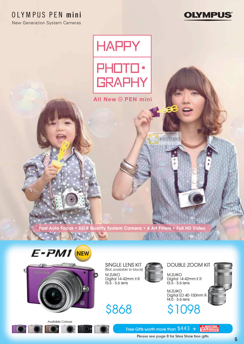 SITEX 2011 price list image brochure of Olympus Digital Cameras Pen E-PM1, Single Lens Kit, Double Zoom Kit