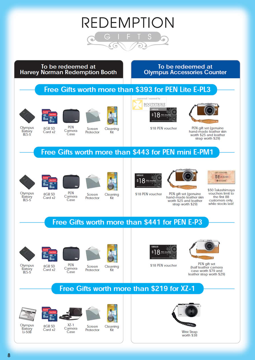 SITEX 2011 price list image brochure of Olympus Digital Cameras Redemption Free Gifts