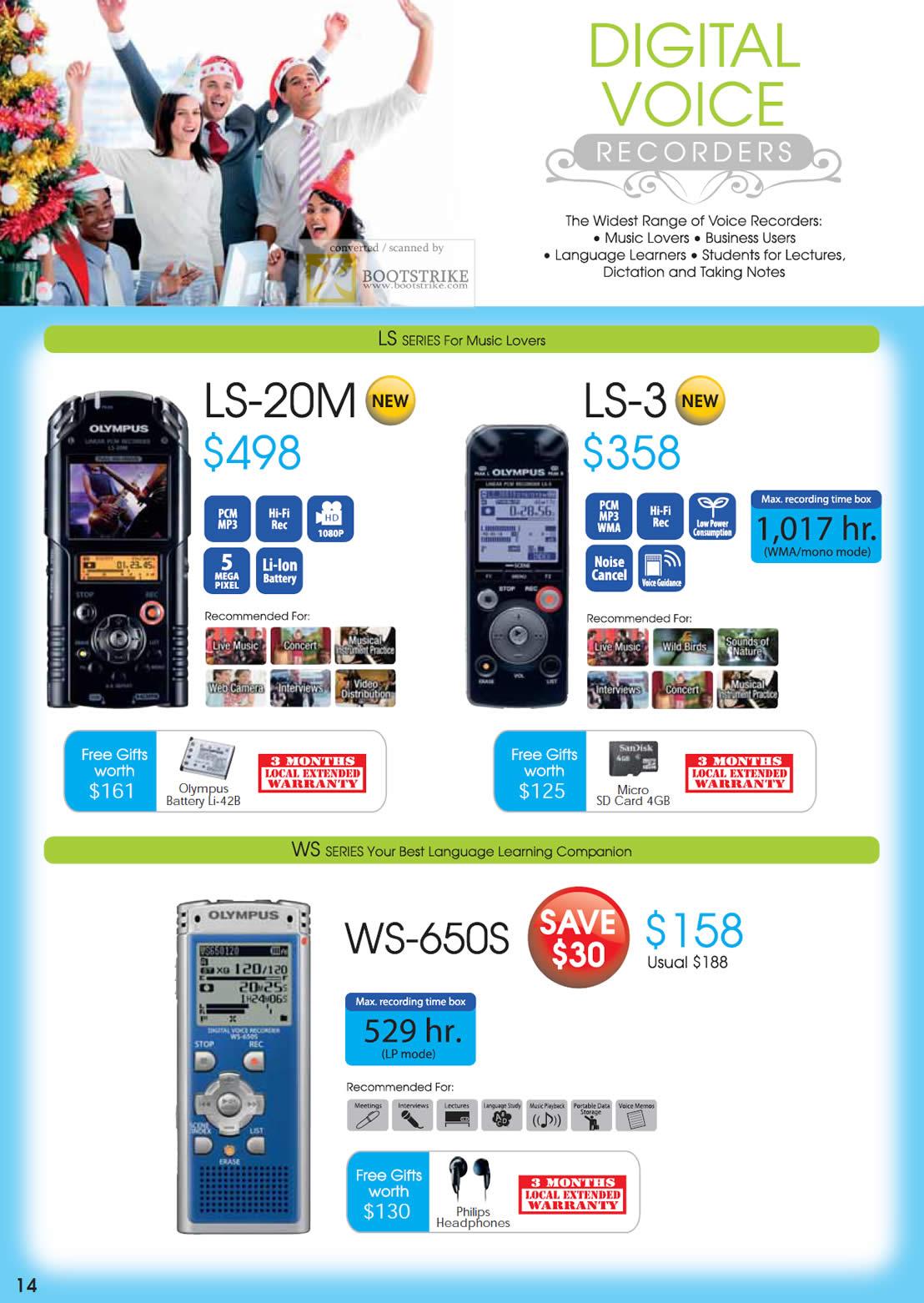 SITEX 2011 price list image brochure of Olympus Digital Voice Recorders LS-20M, LS-3, WS-650S