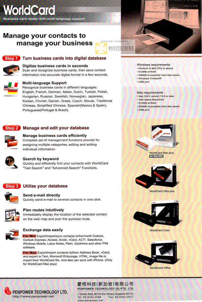 Penpower worldcard business card reader scanner features sitex 2011 sitex 2011 price list image brochure of penpower worldcard business card reader scanner features reheart Choice Image