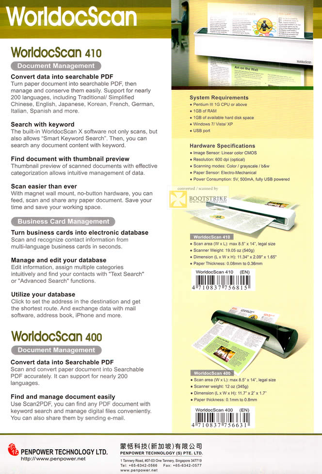 SITEX 2011 price list image brochure of Penpower WorldocScan Features, Document Management, PDF, Scanner, Business Card, Namecard, WorldocScan 400