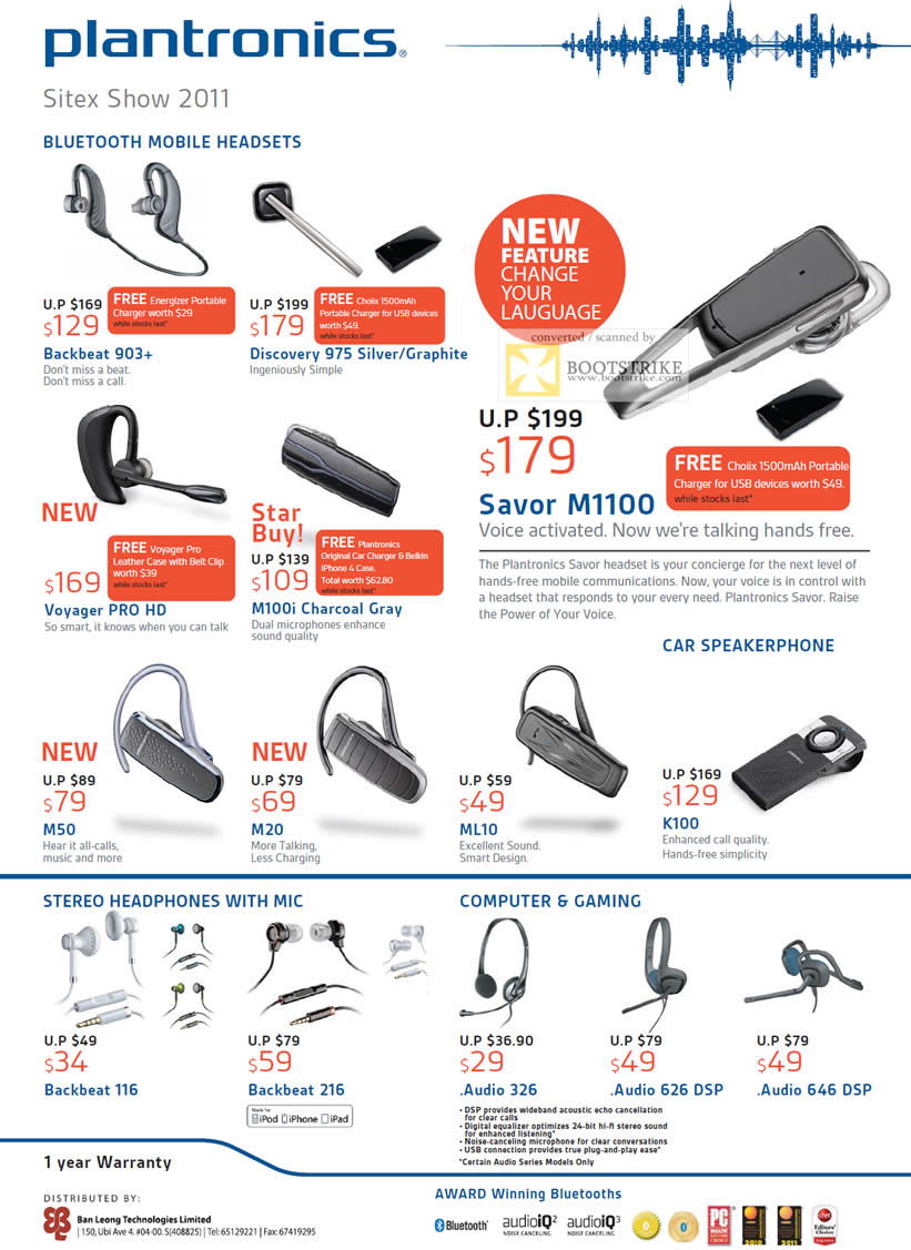 SITEX 2011 price list image brochure of Plantronics Backbeat 903, Discovery 975, Voyager Pro, M100i, Savor M1100, M50, M20, ML10, K100, Backbeat 116, Backbeat 216, Audio 326, Audio 626 DSP, Audio 646 DSP