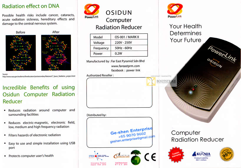 SITEX 2011 price list image brochure of Powerlink Osidun Computer Radiation Reducer, Far Easy Pyramid