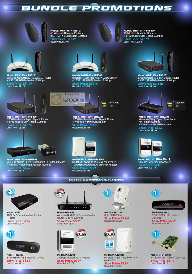 SITEX 2011 price list image brochure of Prolink Networking Bundle Promotions Wireless Router, HSDPA Modem, Powerline, Extender, ADSL2 Modem Router, 3G Camera, PCI LAN Card, USB Modem
