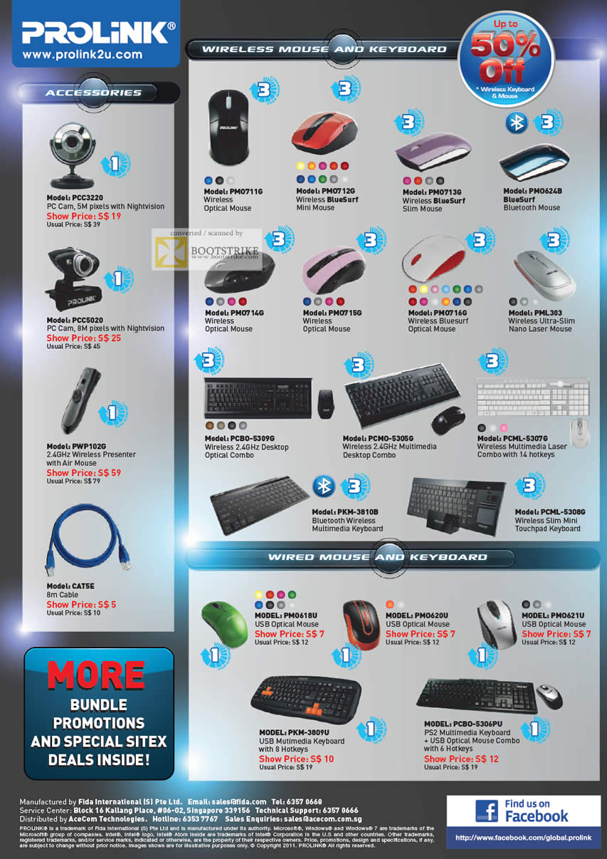 SITEX 2011 price list image brochure of Prolink Wireless Keyboard, Mouse, Webcam, PC Cam, Bluesurf, Optical, Bluetooth, Slim, USB