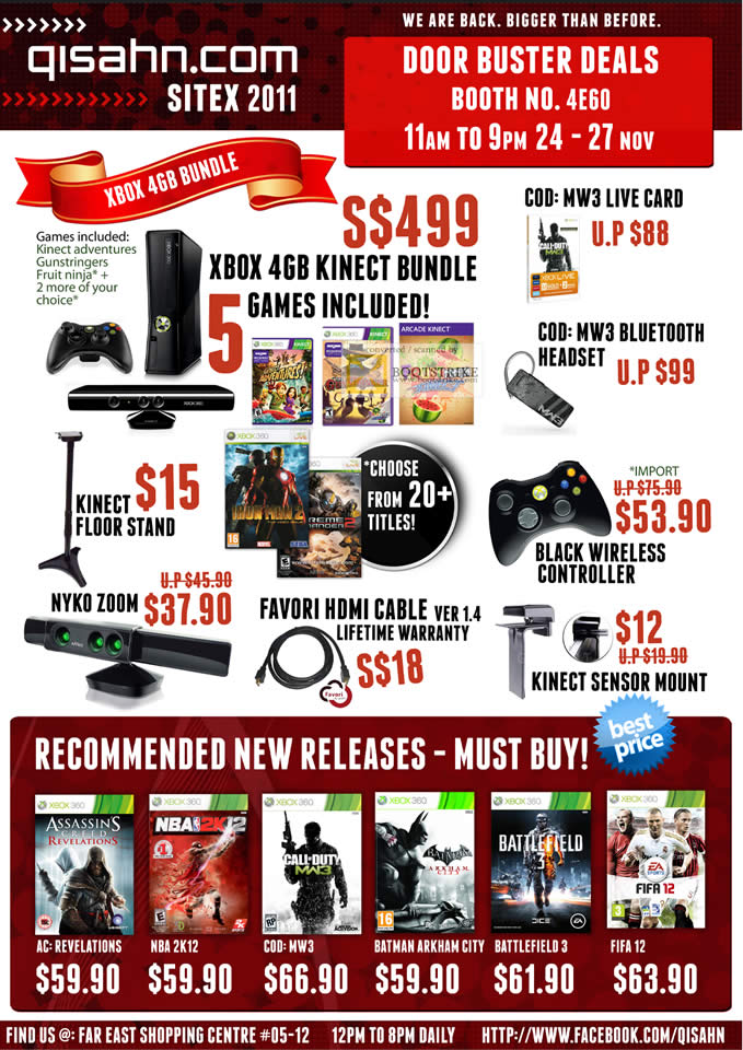 SITEX 2011 price list image brochure of Qisahn Microsoft Xbox 360 4GB Kinect Bundle, MW3 Bluetooth Headset, Floor Stan, Nyko Zoom, Favori HDMI Cable, Wireless Controller, Sensor Mount, Games, Call Of Duty, Fifa 12, Battlefield 3
