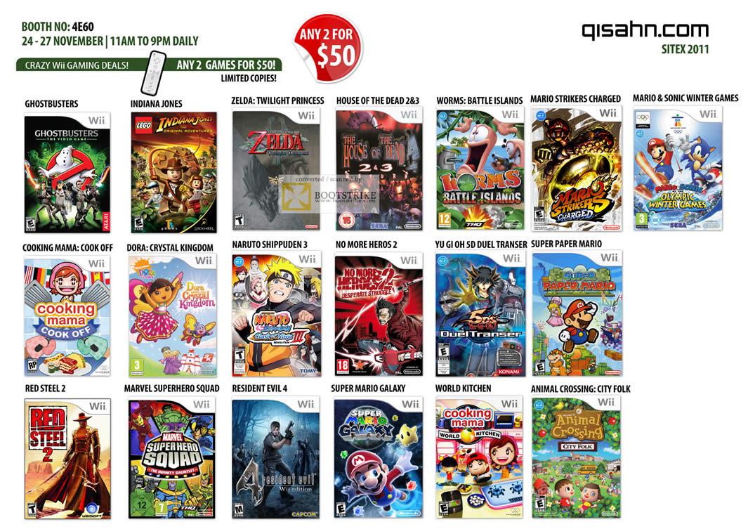 qisahn nintendo wii games ghostbusters, zelda, mario, sonic, dora