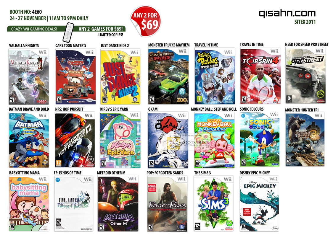 SITEX 2011 price list image brochure of Qisahn Nintendo Wii Games, The Sims 3, Disney Epic Mickey, Okami, Travel In Time, Need For Speed, Batman