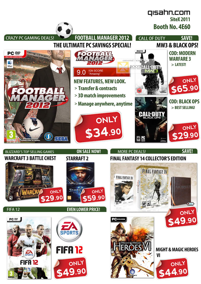 SITEX 2011 price list image brochure of Qisahn PC Games, Football Manager 2012, Call Of Duty Modern Warfare 3, Black Ops, Warcraft 3 Battle Chest, Starcraft 2, Fifa 12, Final Fantasy XIV 14