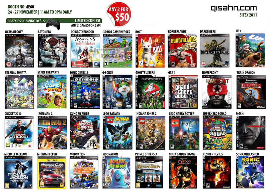 SITEX 2011 price list image brochure of Qisahn Sony Playstation 3 PS3 Games, Batman, Cricket, Michael Jackson, Resident Evil 5, Metal Gear Solid, Train Dragon, Grand Theft Auto