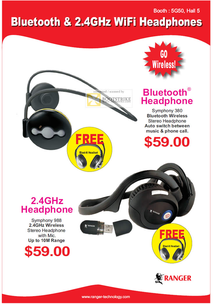 SITEX 2011 price list image brochure of Ranger Bluetooth Headphone, Symphone 380, Wireless Headphone Symphony 988, Mic