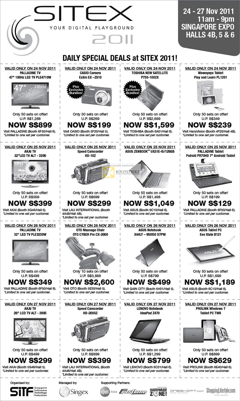 SITEX 2011 price list image brochure of SITEX 2011 Daily Special Deals