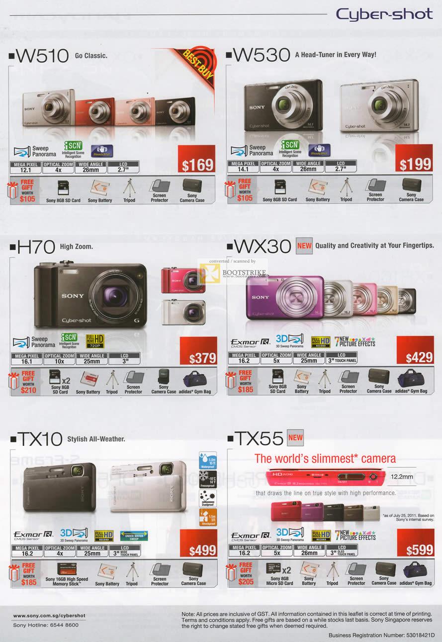 Sony Digital Cameras Cybershot DSC W510, W530, H70, WX30 ...