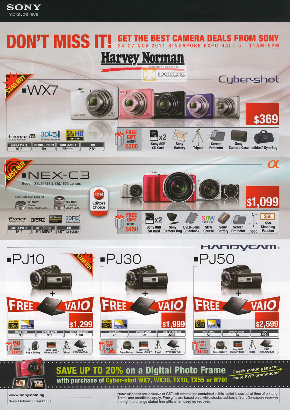 SITEX 2011 price list image brochure of Sony Digital Cameras Cybershot DSC-WX7, NEX-C3, Video Camcorder HDR PJ10, PJ30, PJ50
