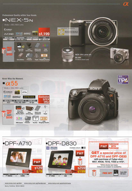 SITEX 2011 price list image brochure of Sony Digital Cameras NEX-5N, A55 DSLR, Digital Photo Frame DPF-A710, DPF-D830