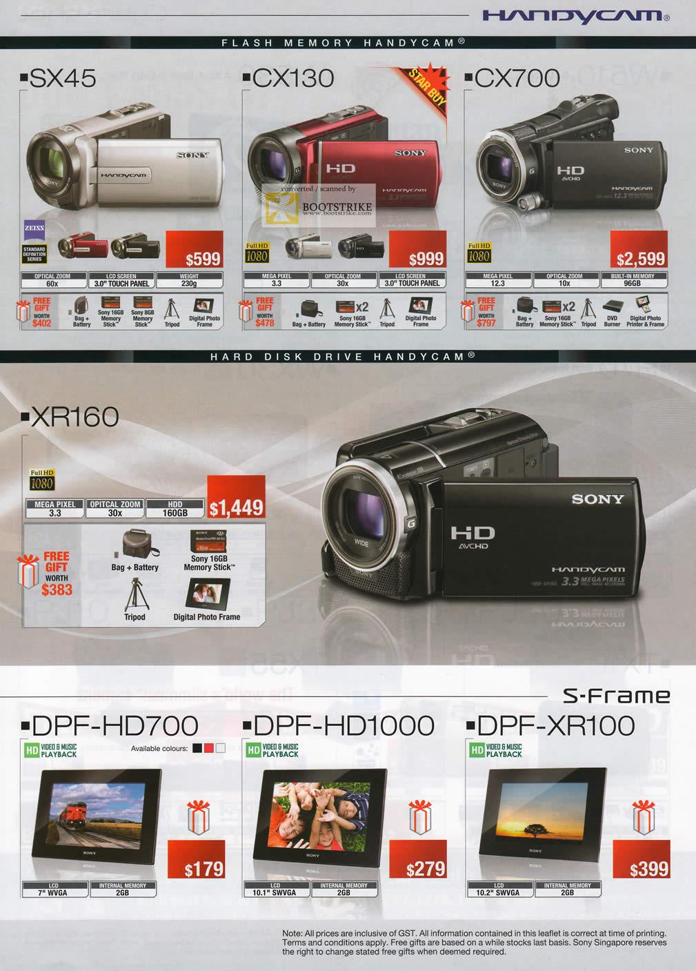 SITEX 2011 price list image brochure of Sony Handycam Video Camcorder DCR SX45, CX130, CX700, XR160, S-Frame Digital Photo Frame DPF-HD700, DPF-HD1000, DPF-XR100