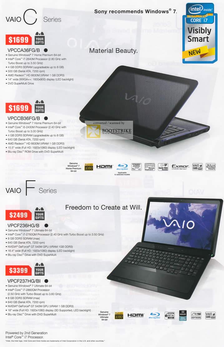 SITEX 2011 price list image brochure of Sony Notebooks Vaio C VPCCA36FG B, VPCCB36FG B, VPCF236HG B, VPCF237HG BI