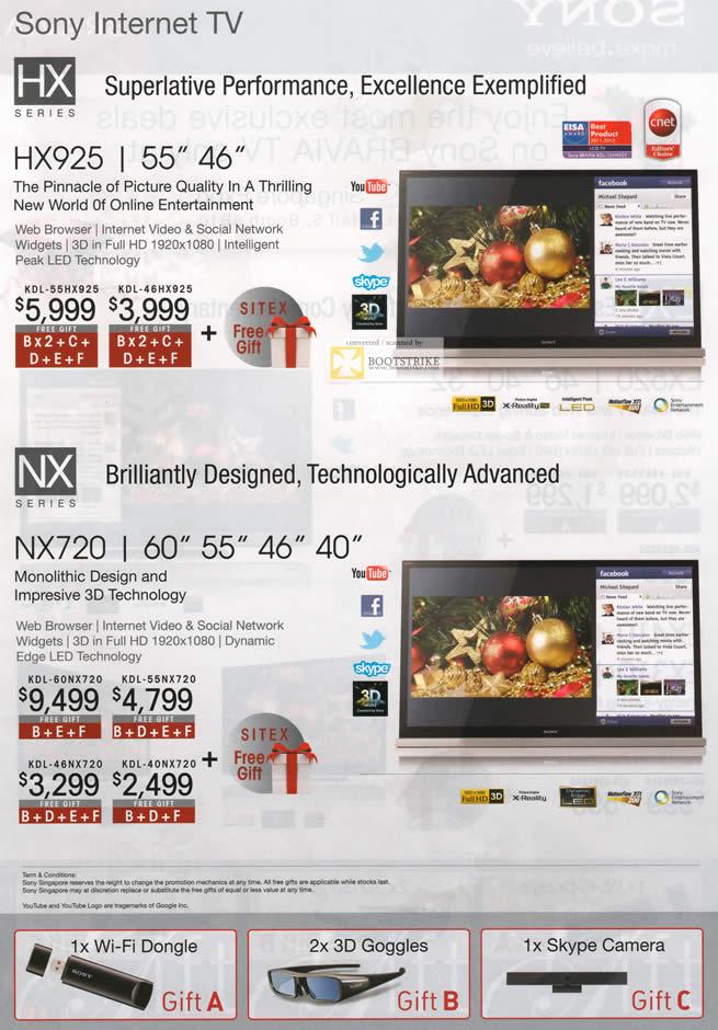 SITEX 2011 price list image brochure of Sony TV HX Series, NX Series KDL-55HX925, KDL-46HX925, KDL-60NX720, KDL-55NX720, KDL-46NX720, KDL-40NX720