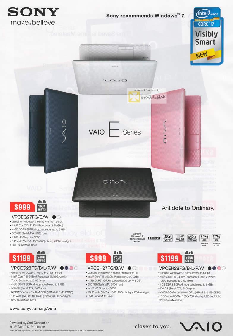 SITEX 2011 price list image brochure of Sony Vaio Notebooks VPCEG27FG B W, VPCEG28FG B L P W, VPCEH27FG B W, VPCEH28FG B L P W