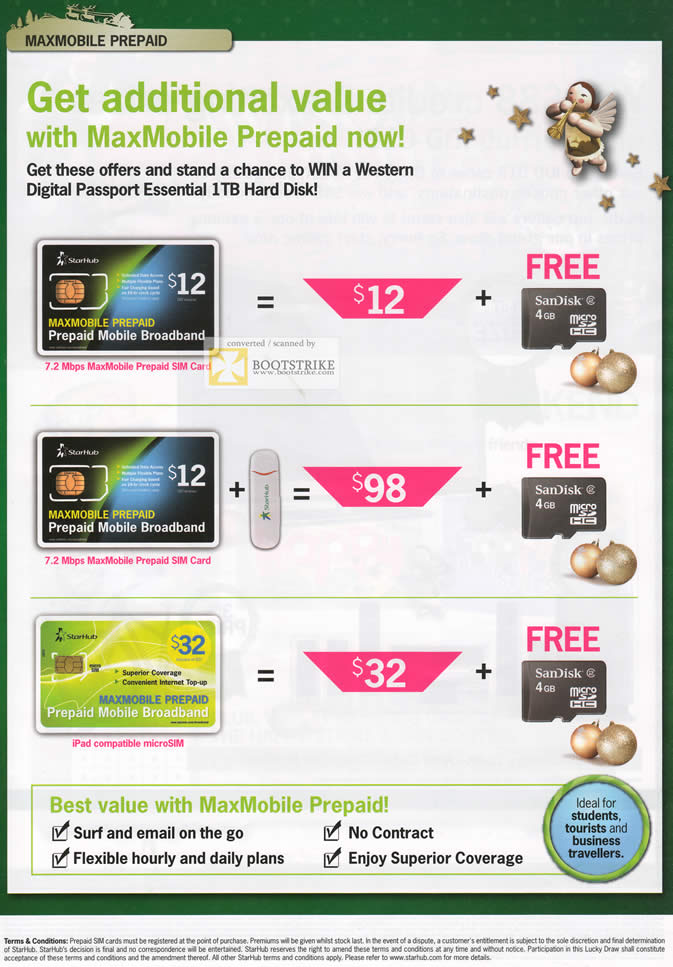 SITEX 2011 price list image brochure of Starhub Maxmobile Prepaid Broadband, Free Sandisk MicroSD Card